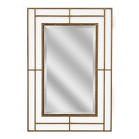 Modern Classic Iron Rectangle Gold Wall Mirror (1187) - Illuminada
