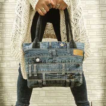Denim handbag tote bag recycled distressed grunge rock