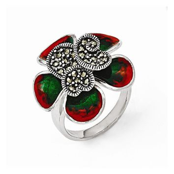 Sterling Silver Marcasite and Enamel Flower Ring