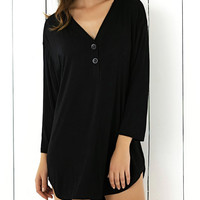 Buttoned Asymmetric Loose-Fitting Dress