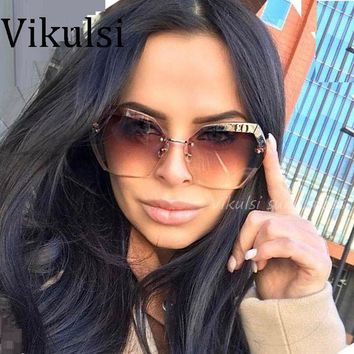 ac DCCKO2Q 2017 Transparent Gradient Sun Glasses Women Sunglasses Elegant Optics Rimless lunette femme Lady Oversized Famous Brand Designer