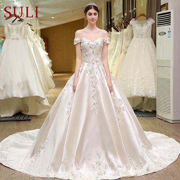 Sweetheart Bling Bridal Gowns Designer Lace Wedding Dress