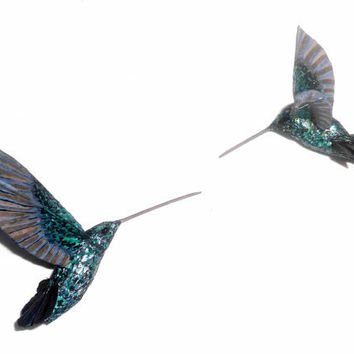 Hummingbird  Colibri Paper mache bird sculpture by natynatyva