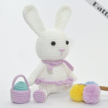 Bunny Soft Toy With Her Mini Easter Basket & Egg  (Easter, Birthday or Baby Shower Gift) CROCHET PATTERN Amigurumi
