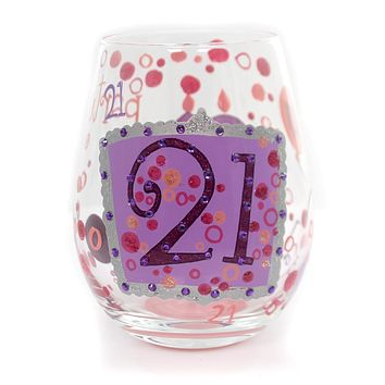 """Tabletop """"21"""" LOLITA STEMLESS WINE GLASS Glass Hand Painted 4057089"""