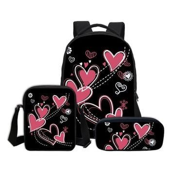 VEEVANV Love Cute Hearts Patterns School Bags For Girls Women Printing Backpack 3D Printing Book Bags  Children Laptop Backpacks