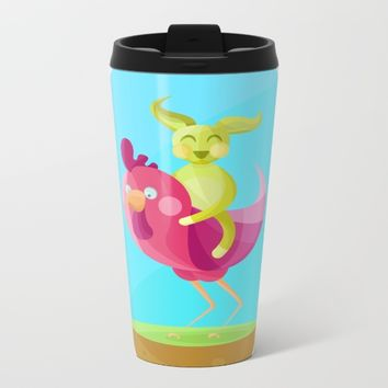 Rooster and his trusty friend Mr Rabbit Metal Travel Mug by Martins