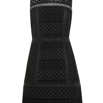 Velvet Cutwork Shift Dress - Dresses - Clothing