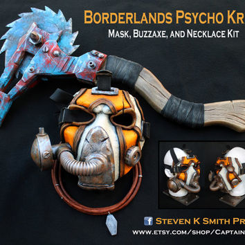 Borderlands Custom Psycho Bandit Krieg Cosplay Mask Buzzaxe and Necklace