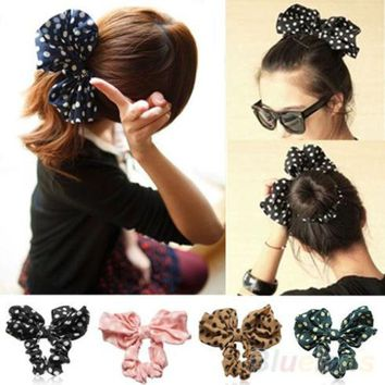 DCK9M2 Hair Accessories Lovely Big Rabbit Ear Bow Headband Ponytail Holder Hair Tie Band Korean Style