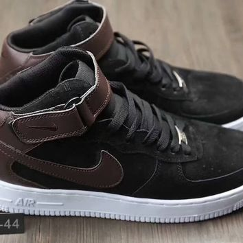 """Nike Air Force 1 07 Mid Leather"" Men Sport Casual Fashion High Help Plate Shoes Sneakers"