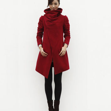High Collar Wool Jacket Winter Wool Coat for Women in Wine Red - Custom Made - NC498