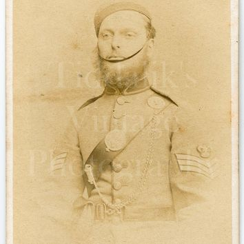 CDV Carte de Visite Photo Victorian Young Man, Military Dress Uniform, Sergeant Stripes Portrait - Prout Brothers - Antique Photograph