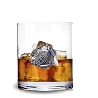 Equestrian Horseshoe Dbl Old Fashion Glass S/4