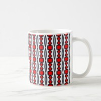 Red Black and White Design on Coffee Mug