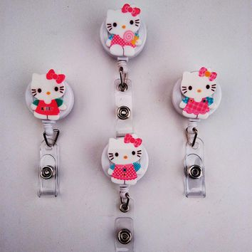2017 Best selling Retractable Badge reel ID Card Clip ID Badge Cute Cat Name Tag Card Holder Reel For School Office Supplies