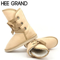 HEE GRAND Woman Snow Boots Winter Fashion Faux Fur Knot Ankle Motorcycle Boots Women Shoes Woman 5 Colors Size 35-40 XWX1324