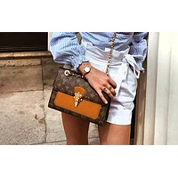 Louis Vuitton fashion casual printing color matching shoulder bag small square bag Messenger chain bag Brown
