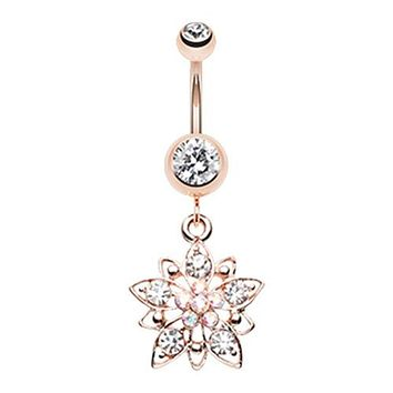 Rose Gold Flower Cluster WildKlass Belly Button Ring