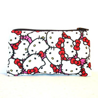 """Hello Kitty Faces on Hot Pink Cotton Padded Pipe Pouch 5.5"""" / Glass Pipe Case / Spoon Cozy / Piece Protector / Pipe Bag / SMALL"""