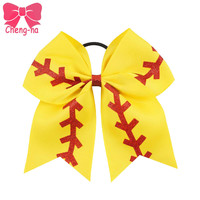 "3pcs/lot 7"" Large Yellow Ribbon Red Glitter Softball Cheer Bow Girls Cheerleading Hair Bows Handmade Hair Accessories For Kids"