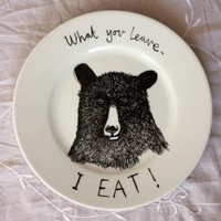 Hand Painted Side Plate - Hungry Bear
