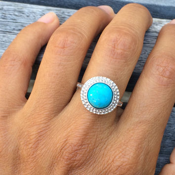 Sterling Silver Round Stabilized Turquoise with Diamond Accent Ring