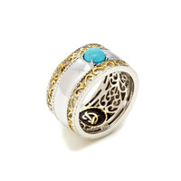 Pompeii Two-Tone & Turquoise Wide Band Ring