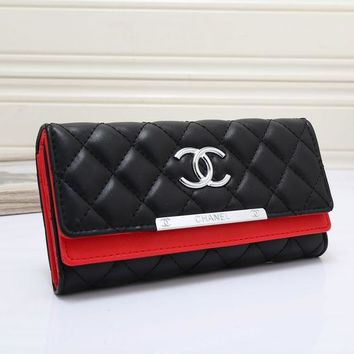 Chanel Fashion Leather Women Wallets Long thin ladies coin Purse Cards Holder Clutch bag magic Wallet female G-MYJSY-BB