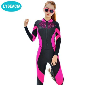 Lace Wet suit Women Zipper Swimsuit Full Body Jumpsuits Diving suit Rash Guard Wet suits for Swimming Surfing Sports Clothing