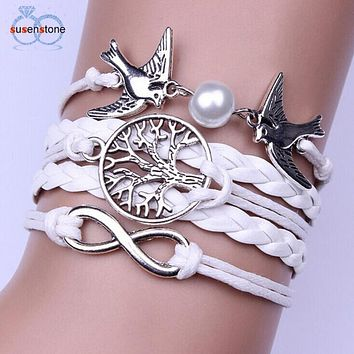 SUSENSTONE 20pcs Punk Design Handmade Adjustable Bracelets For Women Men Wristband Female Owl Leather Bracelet Vintage Jewelry