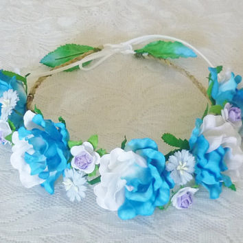 Gerbera rose Flower crown Blue white purple Big rose headpiece mixed size flower head band