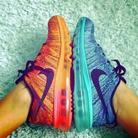 """NIKE"" Trending Fashion Casual Sports Shoes Gradient Blue orange"