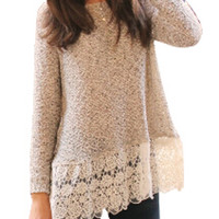 Gray Crochet Lace Hem Knitted Sweater