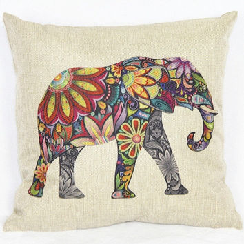 Cotton Linen Sofa Chair Seat Throw Pillow Case Cushion Cover Decorative Tapestry Jacquard Retro Indian Elephant (Color: Red) = 1929547716