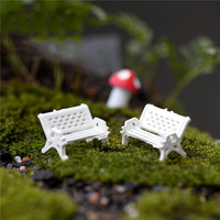 2Pcs White Chair Dollhouse Miniatures Lovely Cute Fairy Garden Gnome Moss Terrarium Decor Crafts Bonsai DIY Gift