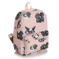 Dogs Canvas Korean Lovely Cute Pink Backpack = 4887966084