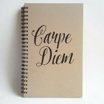 Carpe Diem, Journal, spiral notebook, wire bound diary, sketchbook brown kraft, white journal, handmade, gift writers, motivational quote
