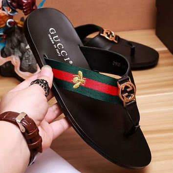 GUCCI 2018 counter new tide brand fashion men and women sandals slippers F-OMDP-GD