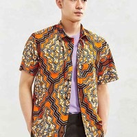 Della Batik Diamond Print Short-Sleeve Button-Down Shirt