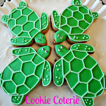 Sea Turtle Decorated Cookies Birthday Party Baby Shower Cookie Favors One Dozen