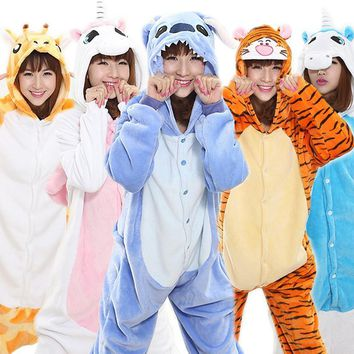 Cool 2018 Unisex Adult Women Anime Costume Halloween Cosplay Costume Unicorn Pajamas Cartoon Sleepwear Panda Tigger Stitch Bat HoodedAT_93_12