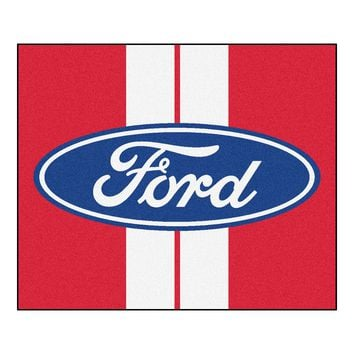 Ford Oval with Stripes Tailgater Rug 5x6 - Red