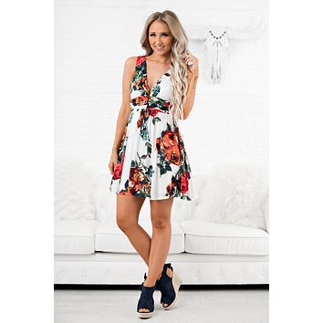 Never Forget Floral Dress (Off White)