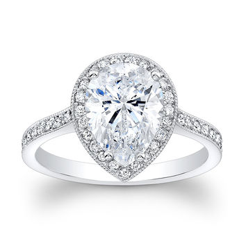 Women's vintage 18kt white gold engagement ring with 2ct Pear Shape white sapphire center (9x7mm) and 0.40 ctw diamonds