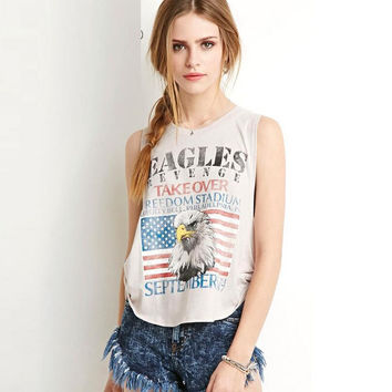 Light Gray Eagle and Flag Print Sleeveless Bowknot T-Shirt