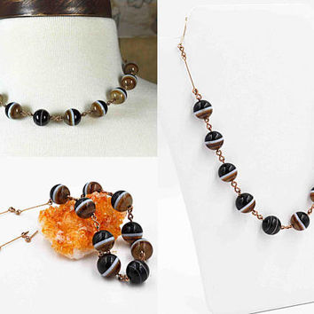 Vintage Art Deco Banded Agate Bead Necklace, Sterling Silver, Gold Vermeil, Wired, Twisted, 12mm Beads, Superb & Rare! #b907