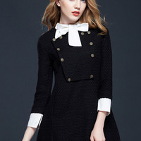 Contrast Bow-Tie Buttons Designed Long Sleeve Mini Dress