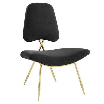 Ponder Upholstered Velvet Lounge Chair Gold Frame