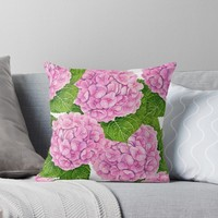 'Hydrangea waterolor pattern' Throw Pillow by Katerina Kirilova